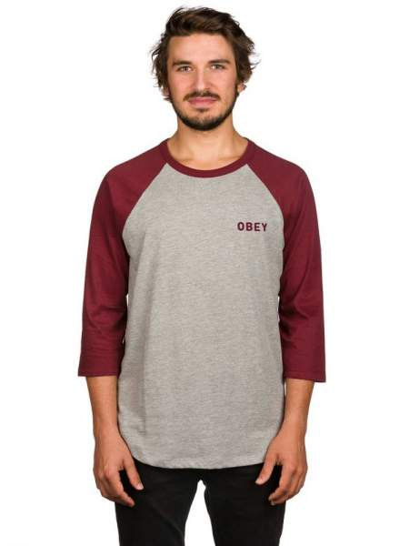 Obey Manche trois quart Red/Grey